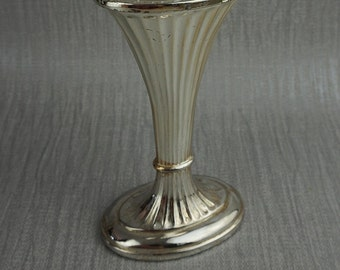 Fluted Tall Silver Plated Medium Posy Flower Vase Displays Oval Shape