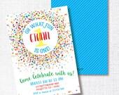 PRIMARY CONFETTI oh what fun! first birthday invitation bright rainbow primary colors confetti birthday party invitation  boy girl twin 1st