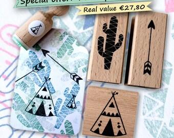 Cactus, arrow, teepee Ink stamp set:  with also a mini teepee  (tipi, tepee) stamp