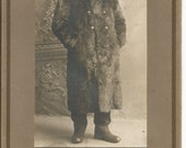 Antique Cabinet Photograph of a Man in a Fur Coat