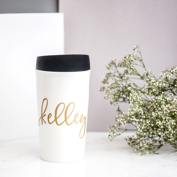 Personalized Travel Ceramic Coffee Mug Gold By Deighandesign