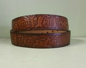"Vintage Tooled Leather Belt - Does and Bucks - Belt Buckle Belt - 33-42"" Waist"
