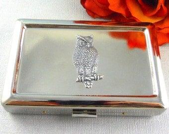Sale Silver Owl Business Card Case  Business Card Holder, Silver Owl, Cigarette Case Holder, Wallet Woodland