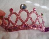 Pink Infant to Toddler Princess Crown Headband - Tiara Headband - Pink Headband - Glitter and Bling Headband - Elastic/Stretch Headband