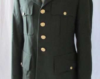 Small 40 short Vintage Mens USA MILITARY JACKET 90s Wool Military  Green Uniform Long Jacket Blazer Army 1990s  40 s