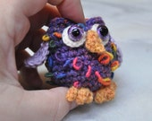 Fruit Loops the Owl - Purple with rainbow loops for BJD, MSD doll toy