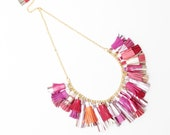 BOUQUET 50 / Mixed color natural leather tassel statement everyday necklace in pink and red shades - Ready to Ship