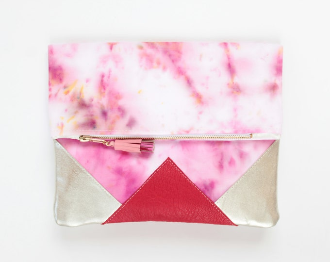 FESTIVE 10 / Folded clutch purse - dyed bag - geometric purse- metallic leather purse -red silver natural leather- tassel bag- Ready to Ship