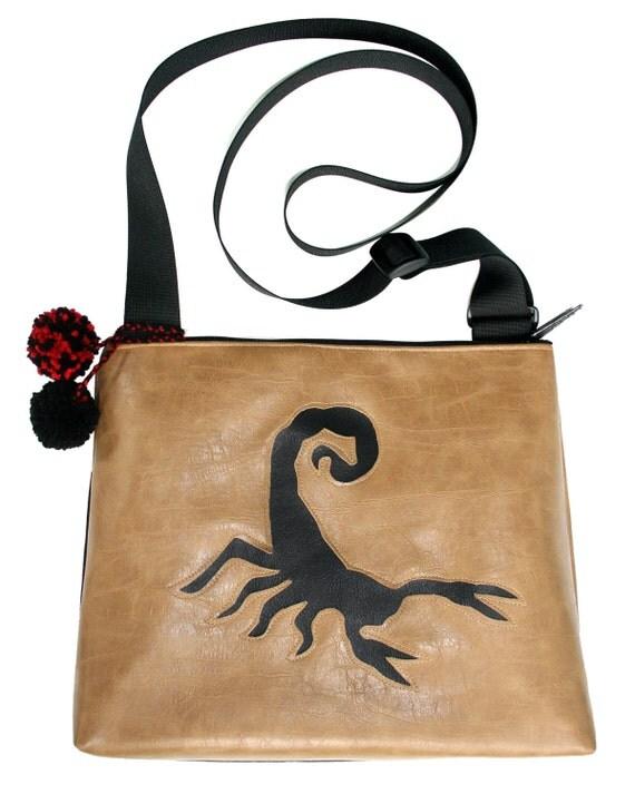 Scorpion, tan, vegan leather, black, pom poms, large, cross body bag