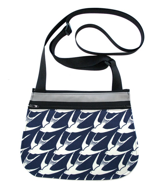 sparrows, navy, grey, cross body, vegan leather, zipper top