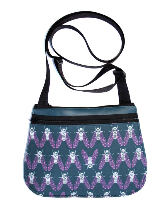 cicadas, blue, cross body, vegan leather, zipper top