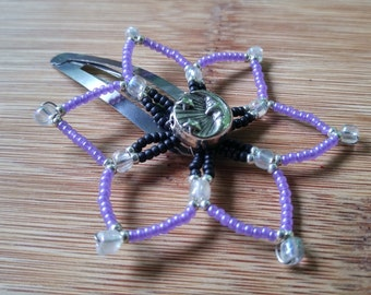 Flower Hair Clip, Beaded Flower Hair Clip, Moon and Stars Flower Hair Clip, Purple Black Silver Hairclip. Metal Moon Center Flower Clip