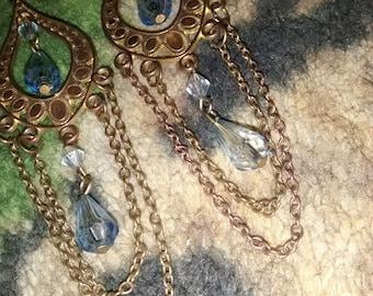 Chandelier Earrings With Blue Blue Beads