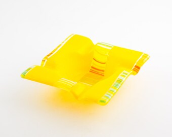 Modern Ashtray, Cigar Ash Tray, Smoking Accessories, Cigarette Tray, Unique Home Decor, Yellow Fused Glass, One of a Kind, Gifts for Smokers