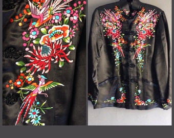Vintage Chinese Silk Embroidered Jacket XS