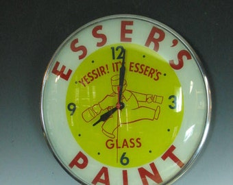 Rare Esser's Painting and Glass PAM Clock -- all original -- needs cleaning but runs GREAT