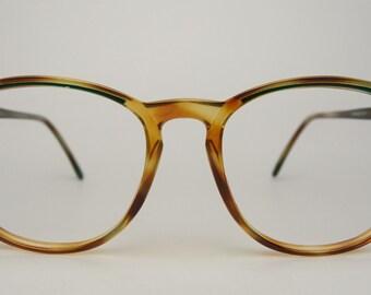Vtg Wrangler Sunglasses Eyeglasses Frames Optical Eyewear Tortoise Green Plastic Rectangular Square Horn Rimmed Retro 1980's Men's Women's
