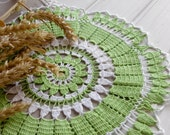 Green crochet doily Lace doily Handmade cotton lace doilies Spring decor White and green Living room decor
