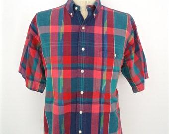 1980s Gant Madras Plaid Shirt / vintage prep pink teal blue button-down half-sleeve / men's extra large