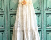 bisque off white & soft white alencon lace crochet pin tucked boho wedding dress by mermaid miss Kristin