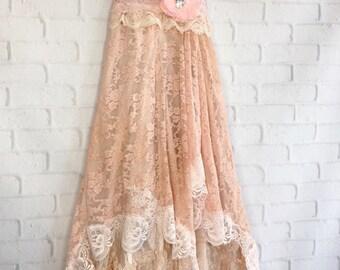 blush dusty pink lace handkerchief hem boho wedding dress by mermaidmisskristin