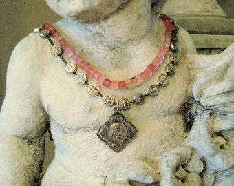 Devotion of the Rose  Wonderful Vintage French Medal Rose Quartz Religious Necklace