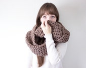 Oversized Scarf, Crochet Infinity Scarf, Chunky Crochet Scarf, Brown Knit Cowl, Loop Scarf | The Wichita Cowl