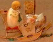 Fantasy Easter Egg Man with baby, Vintage POSTCARD, Instant Digital Download