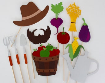 Gardening Photo Booth Props 13 Pc Farmer's Set