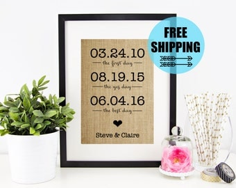 The First Day The Yes Day The Best Day Burlap Print | Custom Anniversary Gift | Gift for Wife | Personalized Gift | Family Dates Wall Art