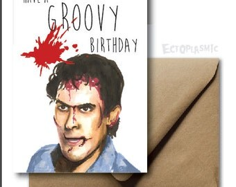 Greeting Card Evil Dead Birthday Card Ash Groovy Baby Hand Drawn Evil Dead Fan Art