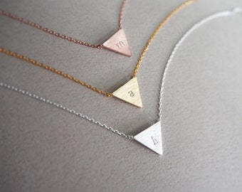triangle necklace, Personalized necklace,initial necklace,Bridesmaid gifts ,Minimal Necklace,Geometric necklace, Layering Necklace