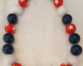Patriotic Chunky Gumball Necklace, red white and blue, stars, flag inspired, great for 4th of July, Independence Day
