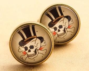 Sailor Jerry Cufflinks - Mens Rockabilly Skull Pirate Red & Black  Cuff Links Vintage Top Hat Tattoo