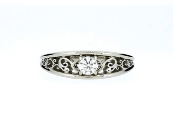 15% SALE, size 7.75 to 8, 0.25ct Diamond filigree ring, filigree engagement ring, white gold ring, diamond solitaire ring, vintage, unique