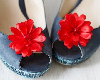 Red Shoe Flowers, Satin Shoe Clips, Red Shoe Pin, Red Bridesmaid Shoe Clips, Red Satin Shoe Flower