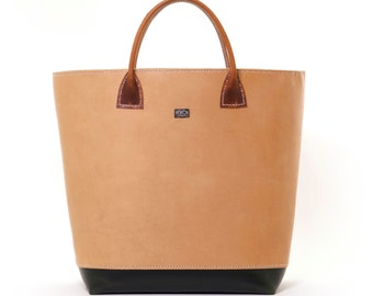 Tri-Tone Leather Tote Bag with All Leather Interior