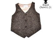 Wyatt Boys Brown Tweed Vest, Infant to Teen, Wedding Ring Bearer, Toddler Vest in Tan, Tan Tweed Boys Vest
