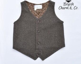 The Austin Boys Vest Brown Herringbone Tweed, Toddlers, Ring Bearer, Herringbone Vest for Boys, Boys Wedding Vest, Vintage or Rustic Wedding