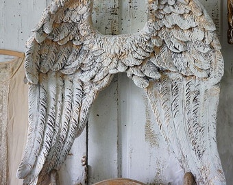 Textured angel wings wall hanging milky white w/ gold accents shabby cottage chic ornate cherub wing sculpture home decor anita spero design