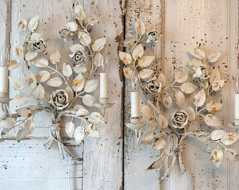 White electric sconces wall hanging shabby cottage chic tole roses French chic vintage painted distressed lighting decor anita spero design