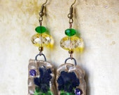 Green Yellow drop earring , Ceramic earring , artisan ceramic jewelry , rustic boho earring dangle