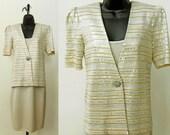 Vintage St. John Beige Metallic 2-Piece Jacket Dress, Mother of the Bride, Cocktail Party, Size 2 (XS)