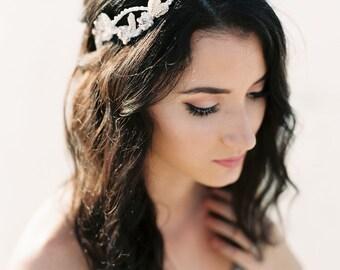 Blush Bridal Headpiece. Blush & Silver Beaded Crystal Hair Vine. Wedding Headpiece {Elizaveta}