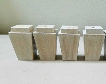 4 Wood Feet Tapered Furniture Feet Gray Taupe Color