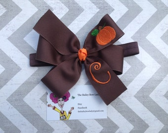 Monogrammed Embroidered Pumpkin Hair Bow