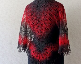 Hand knit shawl wool shawl in black and red colorway