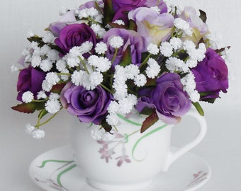 Teacup Silk Flower Arrangement, Purple & Lavender Rosebuds, White Gypsophila, vintage teacup, Teacup Artificial Flowers, Home Decor, Decor,