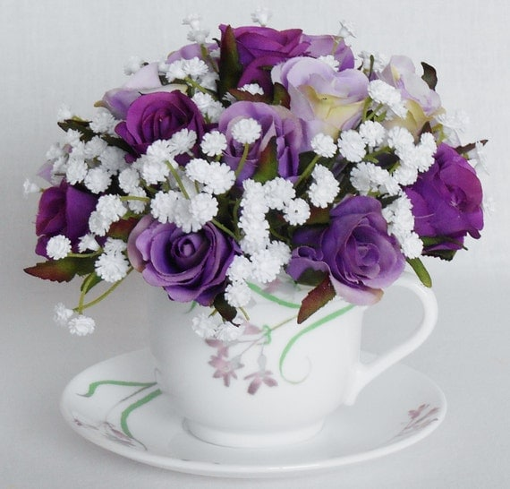 Teacup Silk Flower Arrangement Purple \u0026 Lavender Rosebuds