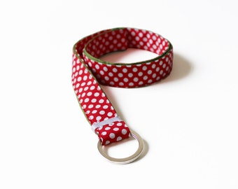 long handmade fabric lanyard key chain dotted keyring belt red white dots rockabilly